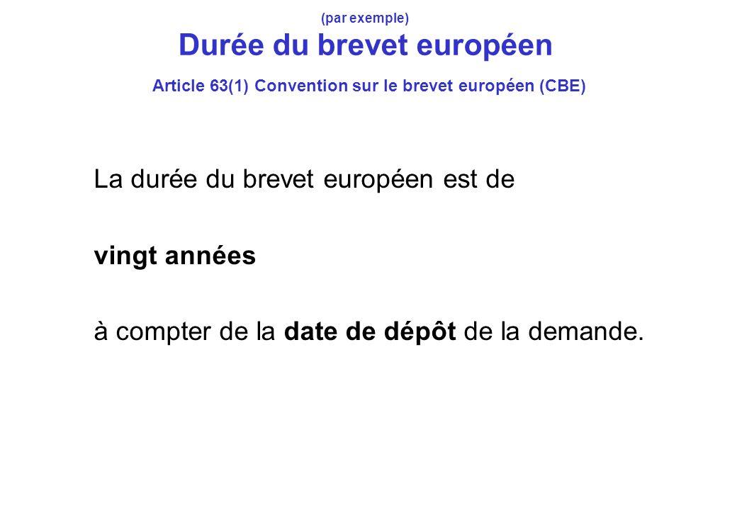 (par exemple) Durée du brevet européen Article 63(1) Convention sur le brevet européen (CBE) La durée du brevet européen est de vingt années à compter de la date de dépôt de la demande.