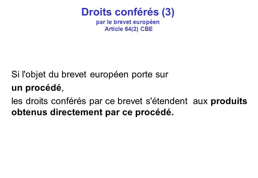 Droits conférés (3) par le brevet européen Article 64(2) CBE Si l objet du brevet européen porte sur un procédé, les droits conférés par ce brevet s étendent aux produits obtenus directement par ce procédé.