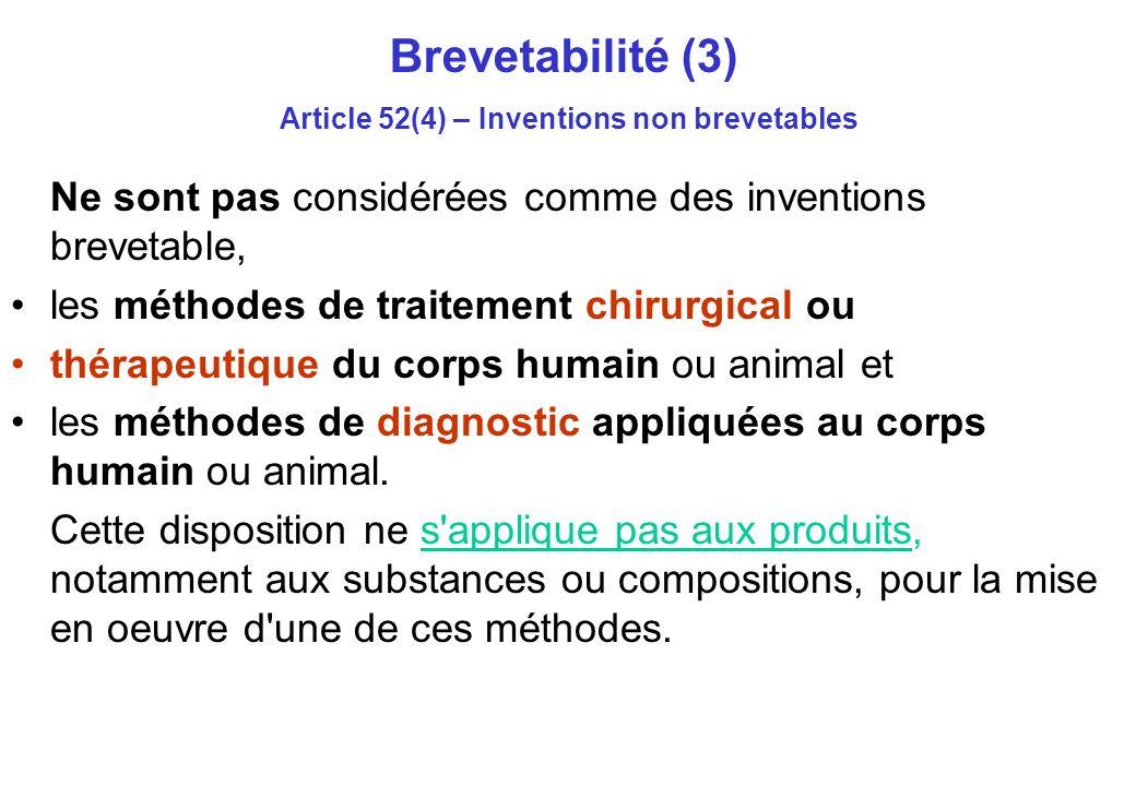 Brevetabilité (3) Article 52(4) – Inventions non brevetables Ne sont pas considérées comme des inventions brevetable, les méthodes de traitement chirurgical ou thérapeutique du corps humain ou animal et les méthodes de diagnostic appliquées au corps humain ou animal.