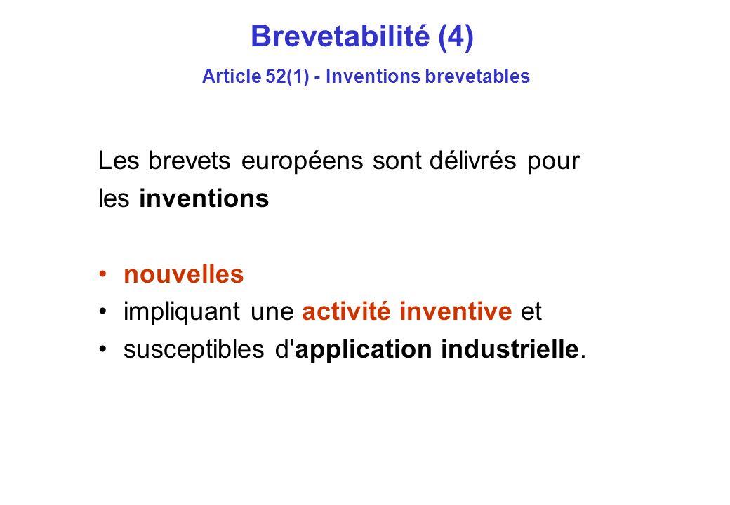 Brevetabilité (4) Article 52(1) - Inventions brevetables Les brevets européens sont délivrés pour les inventions nouvelles impliquant une activité inventive et susceptibles d application industrielle.