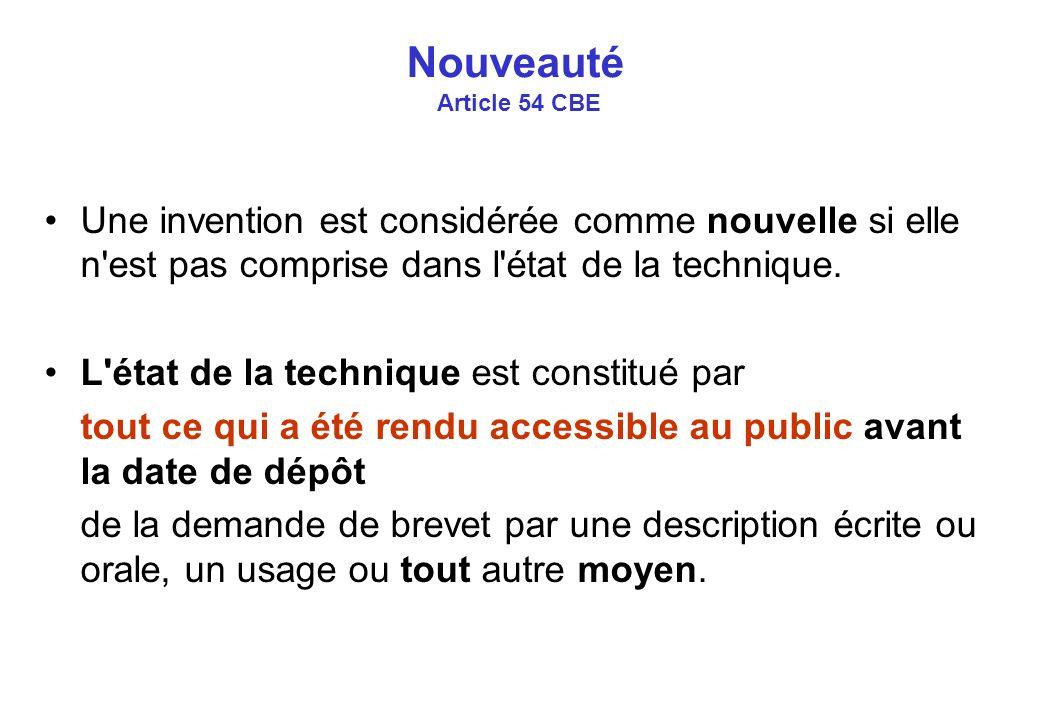 Nouveauté Article 54 CBE Une invention est considérée comme nouvelle si elle n est pas comprise dans l état de la technique.