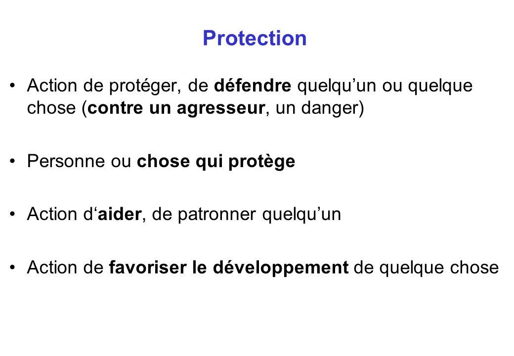 Protection Action de protéger, de défendre quelquun ou quelque chose (contre un agresseur, un danger) Personne ou chose qui protège Action daider, de patronner quelquun Action de favoriser le développement de quelque chose