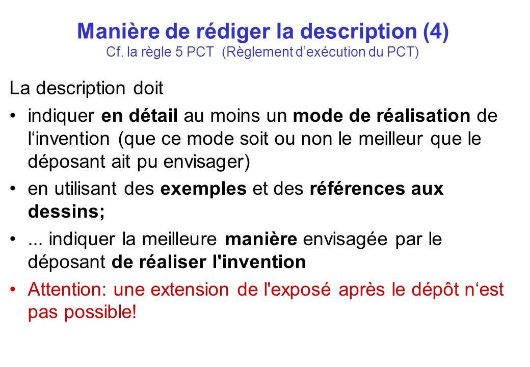 Manière de rédiger la description (4) Cf.