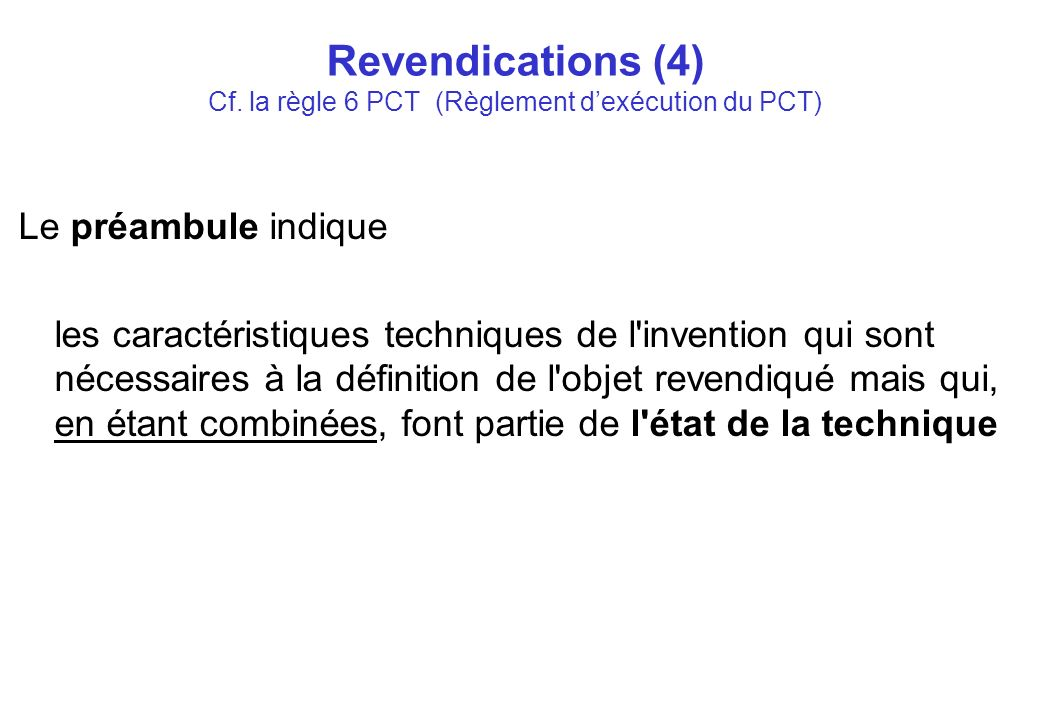 Revendications (4) Cf.