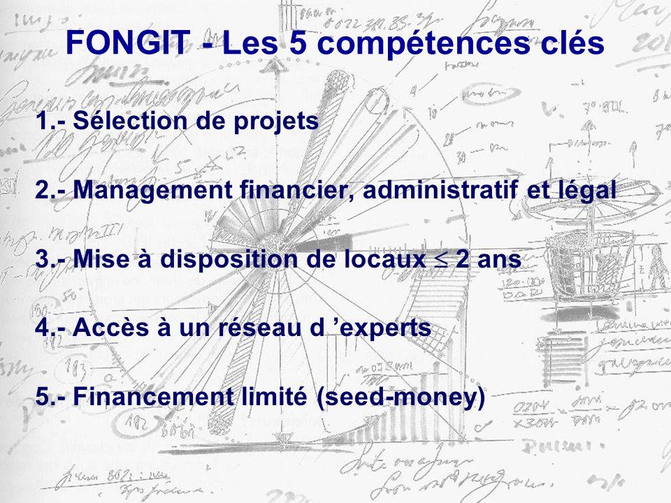 FONGIT - Les 5 compétences clés 1.- Sélection de projets 2.- Management financier, administratif et légal 3.- Mise à disposition de locaux 2 ans 4.- Accès à un réseau d experts 5.- Financement limité (seed-money)