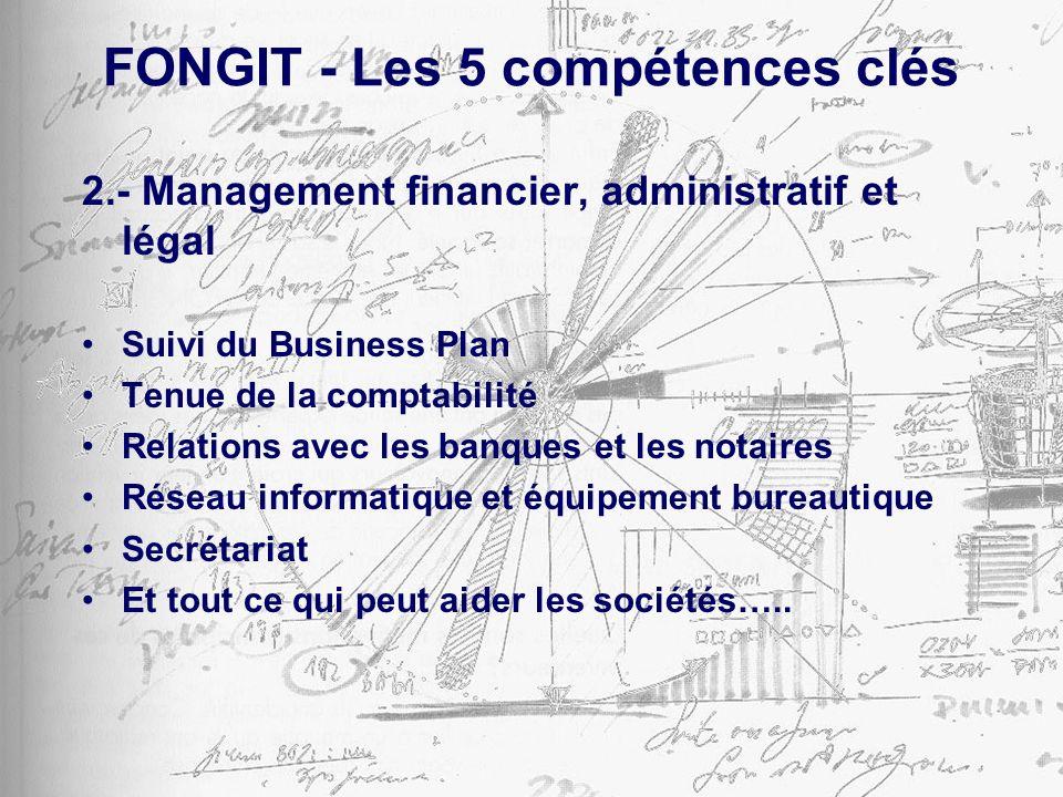 FONGIT - Les 5 compétences clés 2.- Management financier, administratif et légal Suivi du Business Plan Tenue de la comptabilité Relations avec les banques et les notaires Réseau informatique et équipement bureautique Secrétariat Et tout ce qui peut aider les sociétés…..