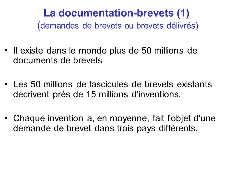 La documentation-brevets (1) ( demandes de brevets ou brevets délivrés) Il existe dans le monde plus de 50 millions de documents de brevets Les 50 mil