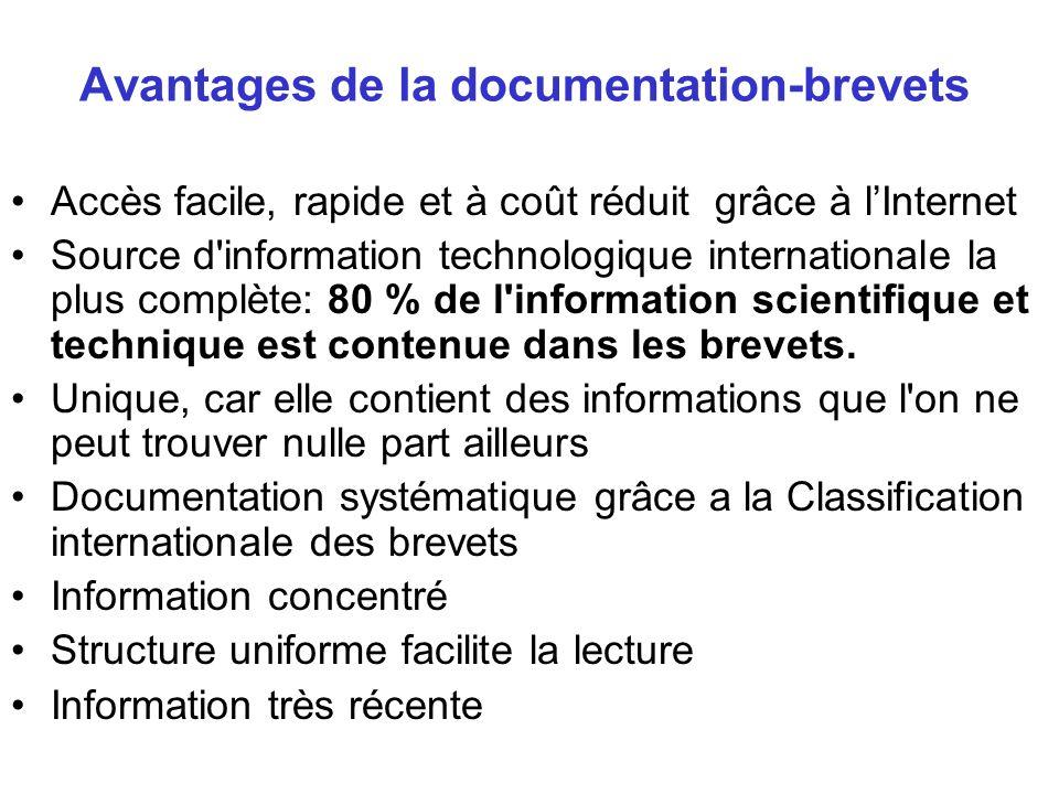 Avantages de la documentation-brevets Accès facile, rapide et à coût réduit grâce à lInternet Source d'information technologique internationale la plu