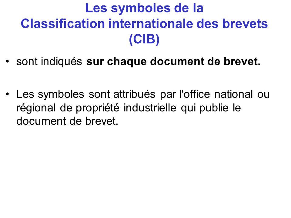 Les symboles de la Classification internationale des brevets (CIB) sont indiqués sur chaque document de brevet. Les symboles sont attribués par l'offi
