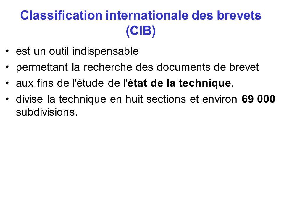 Classification internationale des brevets (CIB) est un outil indispensable permettant la recherche des documents de brevet aux fins de l'étude de l'ét