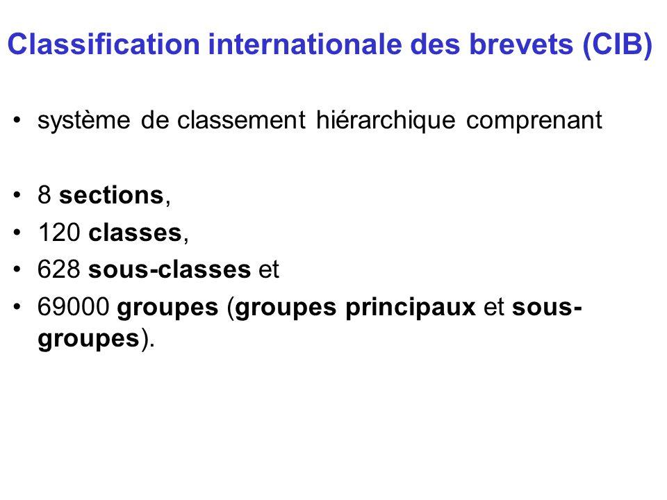 système de classement hiérarchique comprenant 8 sections, 120 classes, 628 sous-classes et 69000 groupes (groupes principaux et sous- groupes). Classi