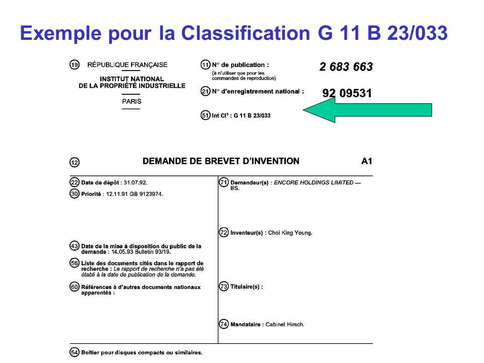 Exemple pour la Classification G 11 B 23/033