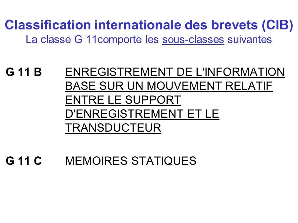 Classification internationale des brevets (CIB) La classe G 11comporte les sous-classes suivantes G 11 B ENREGISTREMENT DE L'INFORMATION BASE SUR UN M