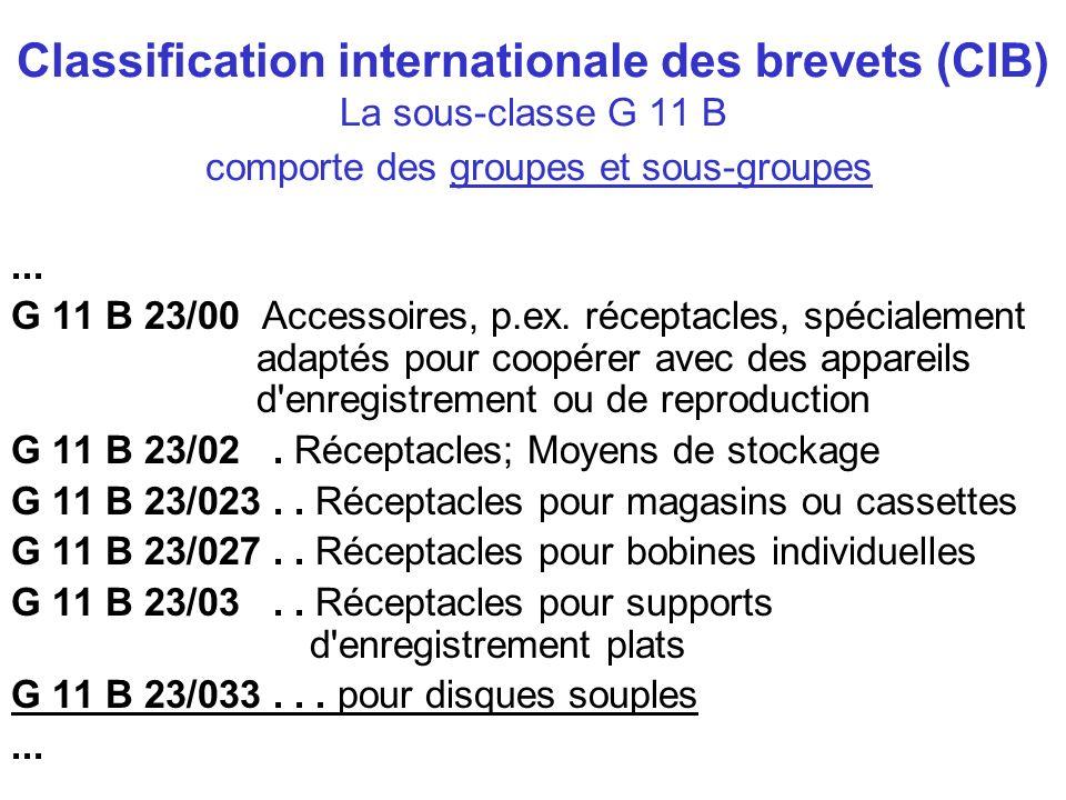 Classification internationale des brevets (CIB) La sous-classe G 11 B comporte des groupes et sous-groupes... G 11 B 23/00 Accessoires, p.ex. réceptac