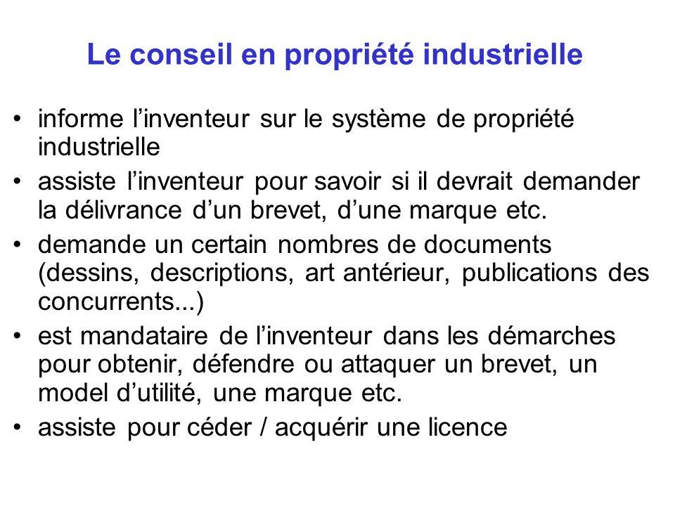 Le conseil en propriété industrielle informe linventeur sur le système de propriété industrielle assiste linventeur pour savoir si il devrait demander
