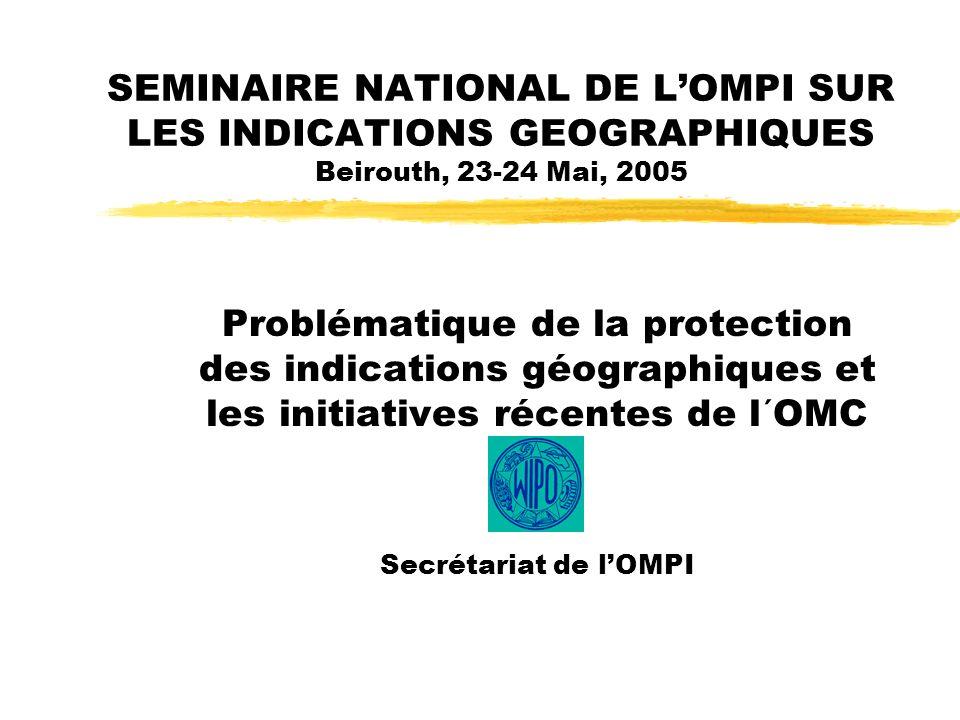 SEMINAIRE NATIONAL DE LOMPI SUR LES INDICATIONS GEOGRAPHIQUES Beirouth, 23-24 Mai, 2005 Problématique de la protection des indications géographiques et les initiatives récentes de l´OMC Secrétariat de lOMPI