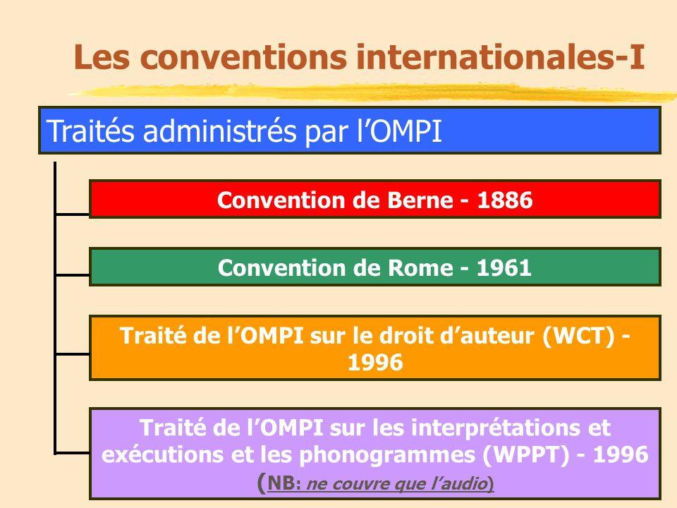 12 Traités administrés par lOMPI Les conventions internationales-I Convention de Rome - 1961 Convention de Berne - 1886 Traité de lOMPI sur le droit dauteur (WCT) - 1996 Traité de lOMPI sur les interprétations et exécutions et les phonogrammes (WPPT) - 1996 ( NB : ne couvre que laudio)