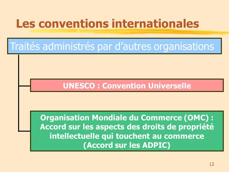 13 Traités administrés par dautres organisations Les conventions internationales Organisation Mondiale du Commerce (OMC) : Accord sur les aspects des