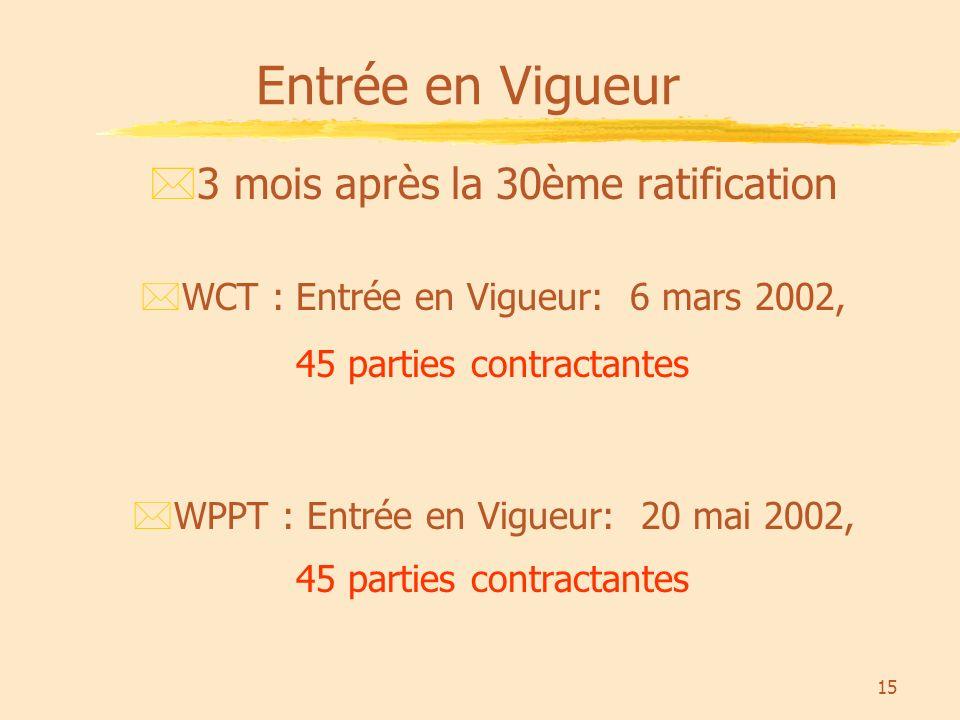 15 Entrée en Vigueur *3 mois après la 30ème ratification *WCT : Entrée en Vigueur: 6 mars 2002, 45 parties contractantes *WPPT : Entrée en Vigueur: 20 mai 2002, 45 parties contractantes