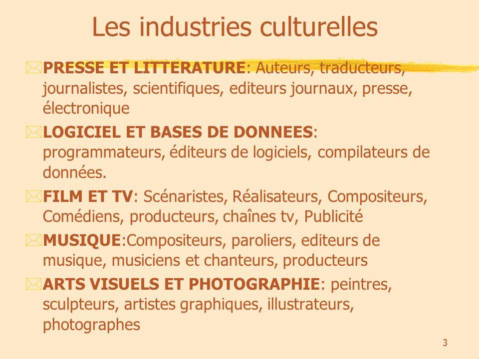 3 Les industries culturelles *PRESSE ET LITTERATURE: Auteurs, traducteurs, journalistes, scientifiques, editeurs journaux, presse, électronique *LOGICIEL ET BASES DE DONNEES: programmateurs, éditeurs de logiciels, compilateurs de données.
