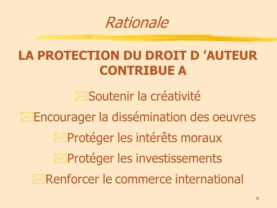 4 Rationale LA PROTECTION DU DROIT D AUTEUR CONTRIBUE A *Soutenir la créativité *Encourager la dissémination des oeuvres *Protéger les intérêts moraux *Protéger les investissements *Renforcer le commerce international