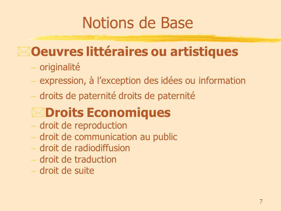 8 *Droit de reproduction: La reproduction consiste en la fixation matérielle de l œuvre par tous procédés qui permettent de la communiquer au public d une manière indirecte.