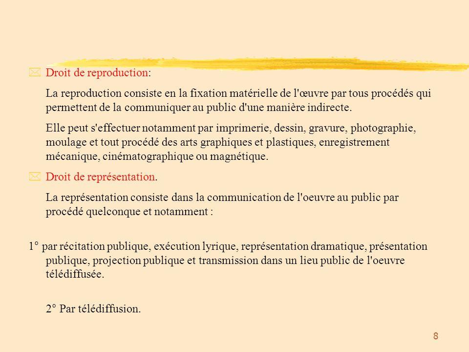 9 Droit moral *Se decompose en 4 attributs.*Droit de divulgation.
