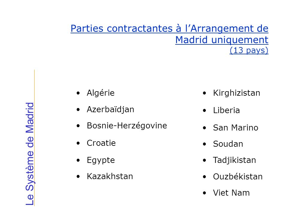 Le Système de Madrid Parties contractantes à lArrangement de Madrid uniquement (13 pays) Algérie Azerbaïdjan Bosnie-Herzégovine Croatie Egypte Kazakhs
