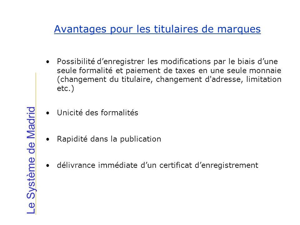 Avantages pour les titulaires de marques Le Système de Madrid Possibilité denregistrer les modifications par le biais dune seule formalité et paiement