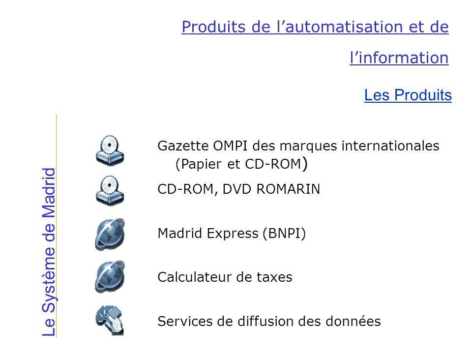 Le Système de Madrid Produits de lautomatisation et de linformation Les Produits Services de diffusion des données Calculateur de taxes Madrid Express