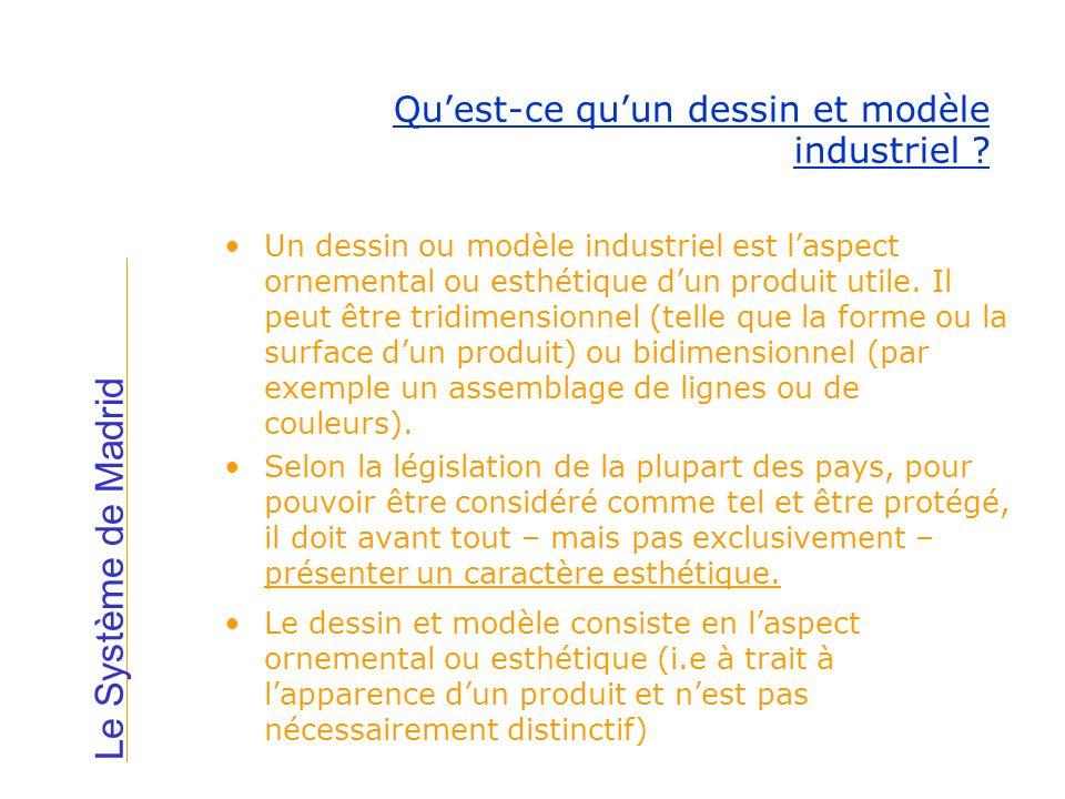 Un dessin ou modèle industriel est laspect ornemental ou esthétique dun produit utile. Il peut être tridimensionnel (telle que la forme ou la surface