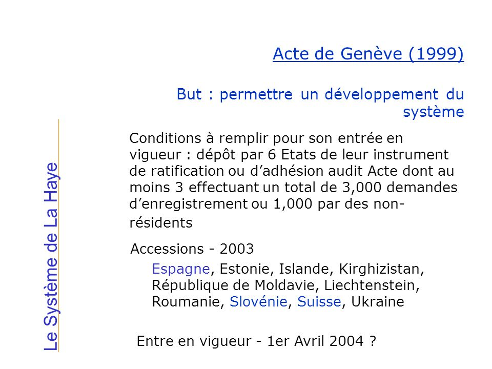 Le Système de La Haye Acte de Genève (1999) Accessions - 2003 Espagne, Estonie, Islande, Kirghizistan, République de Moldavie, Liechtenstein, Roumanie