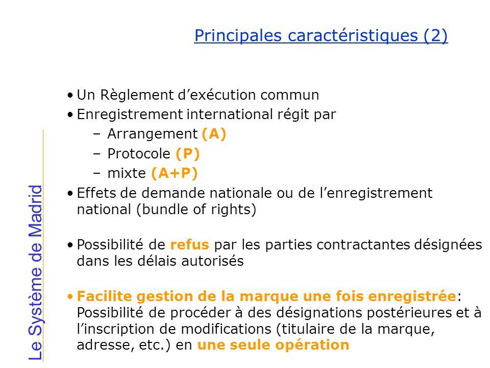 Principales caractéristiques (2) Un Règlement dexécution commun Enregistrement international régit par –Arrangement (A) –Protocole (P) –mixte (A+P) Ef
