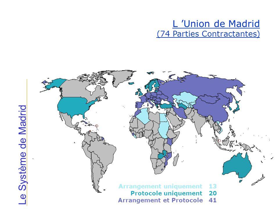 Le Système de Madrid Parties contractantes à lArrangement de Madrid uniquement (13 pays) Algérie Azerbaïdjan Bosnie-Herzégovine Croatie Egypte Kazakhstan Kirghizistan Liberia San Marino Soudan Tadjikistan Ouzbékistan Viet Nam