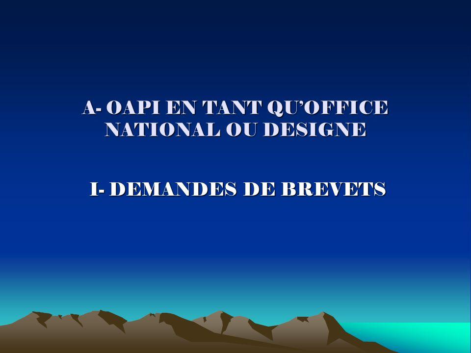 A- OAPI EN TANT QUOFFICE NATIONAL OU DESIGNE I- DEMANDES DE BREVETS I- DEMANDES DE BREVETS