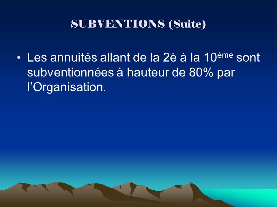 SUBVENTIONS (Suite) Les annuités allant de la 2è à la 10 ème sont subventionnées à hauteur de 80% par lOrganisation.