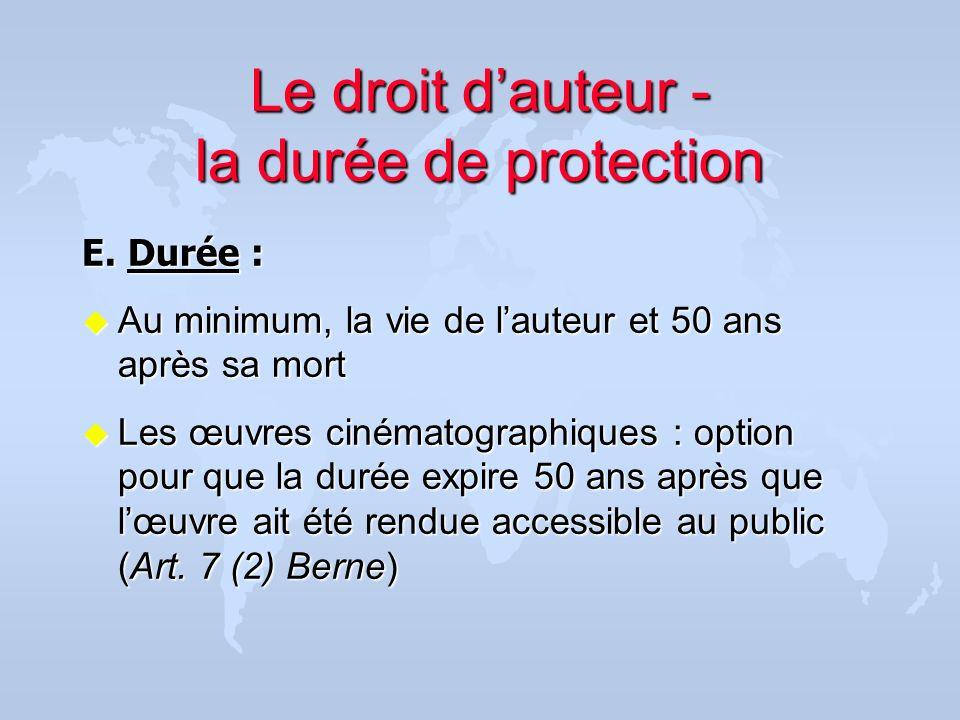 Le droit dauteur - la durée de protection E. Durée : u Au minimum, la vie de lauteur et 50 ans après sa mort u Les œuvres cinématographiques : option