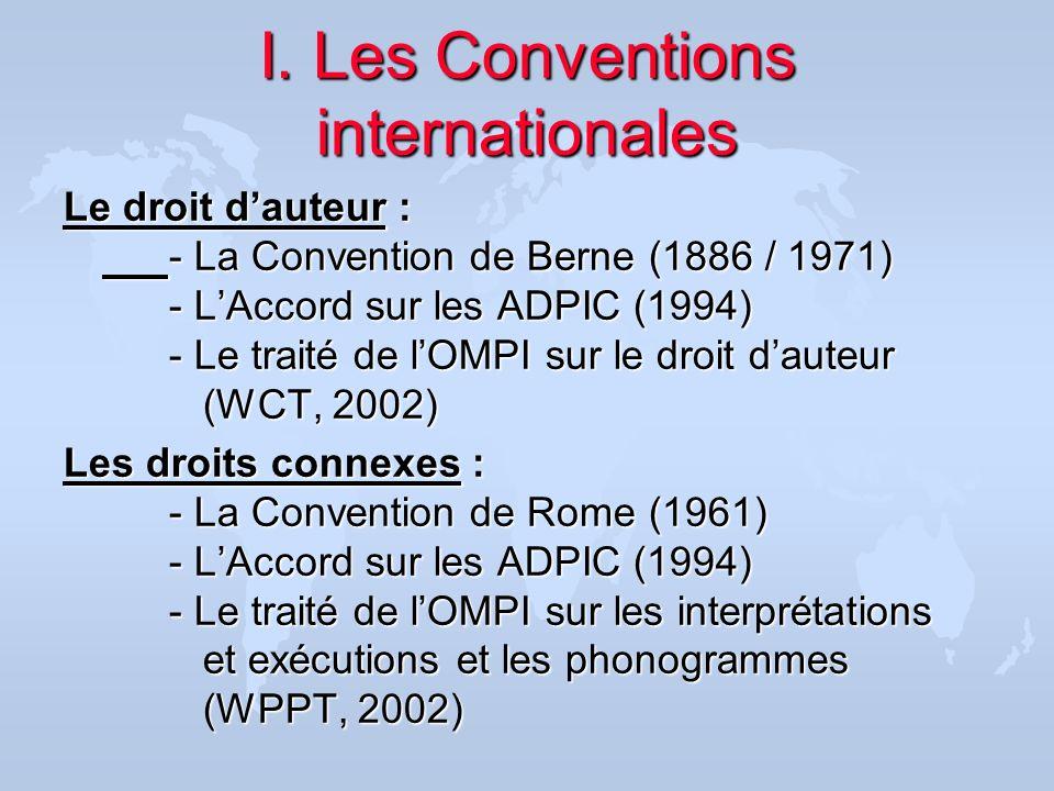 États Membres ( 23 Mars 2005 ) u La Convention de Berne : 159 Etats Membres (Maroc : 1917) u La Convention de Rome : 79 Etats Membres (Maroc (-)) u LAccord sur les ADPIC : 148 Etats Membres (27 accessions en cours) (Maroc 1995) u Les Traités Internet de lOMPI : WCT: 51 Etats Membres (Maroc (-)) WPPT : 49 Etats Membres (Maroc (-))