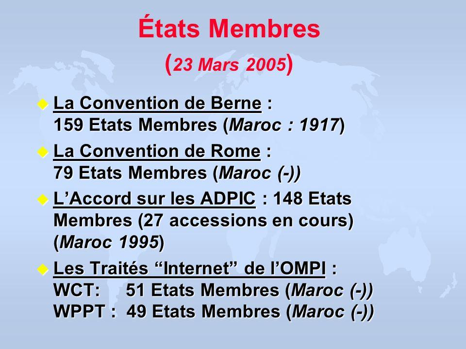 États Membres ( 23 Mars 2005 ) u La Convention de Berne : 159 Etats Membres (Maroc : 1917) u La Convention de Rome : 79 Etats Membres (Maroc (-)) u LA