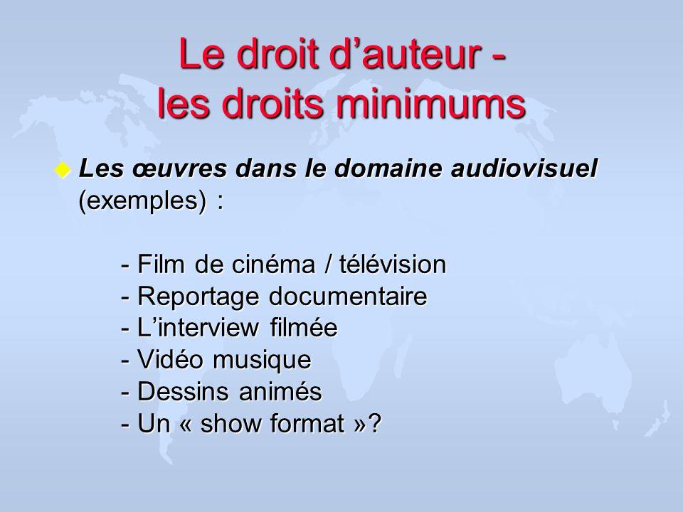 Le droit dauteur - les droits minimums u Les œuvres dans le domaine audiovisuel (exemples) : - Film de cinéma / télévision - Reportage documentaire -