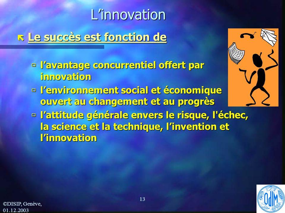 ©DISIP, Genève, 01.12.2003 13Linnovation ë Le succès est fonction de ùlavantage concurrentiel offert par innovation ùlenvironnement social et économique ouvert au changement et au progrès ùlattitude générale envers le risque, l échec, la science et la technique, linvention et linnovation