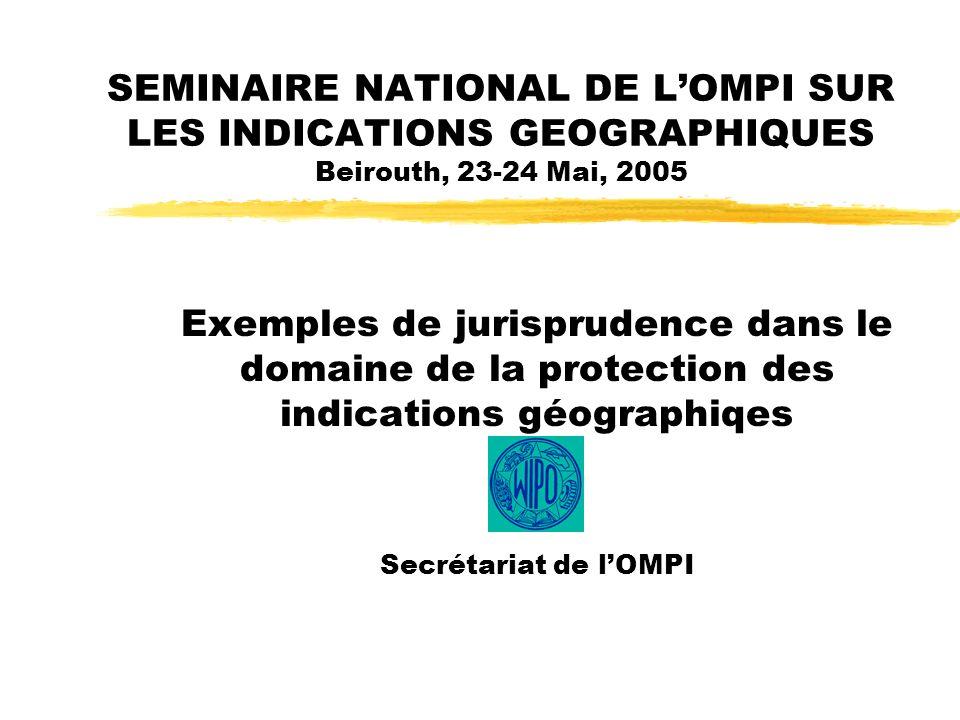 SEMINAIRE NATIONAL DE LOMPI SUR LES INDICATIONS GEOGRAPHIQUES Beirouth, 23-24 Mai, 2005 Exemples de jurisprudence dans le domaine de la protection des