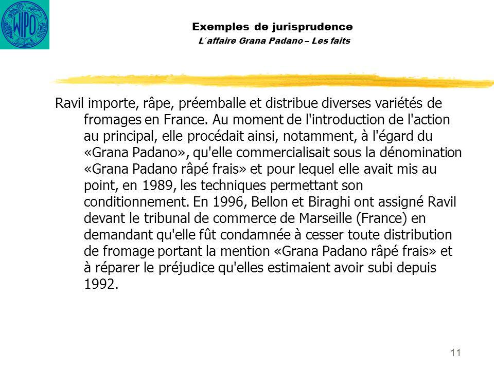 11 Exemples de jurisprudence L´affaire Grana Padano – Les faits Ravil importe, râpe, préemballe et distribue diverses variétés de fromages en France.
