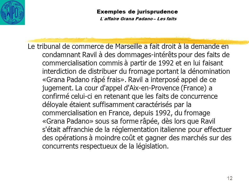 12 Exemples de jurisprudence L´affaire Grana Padano – Les faits Le tribunal de commerce de Marseille a fait droit à la demande en condamnant Ravil à d