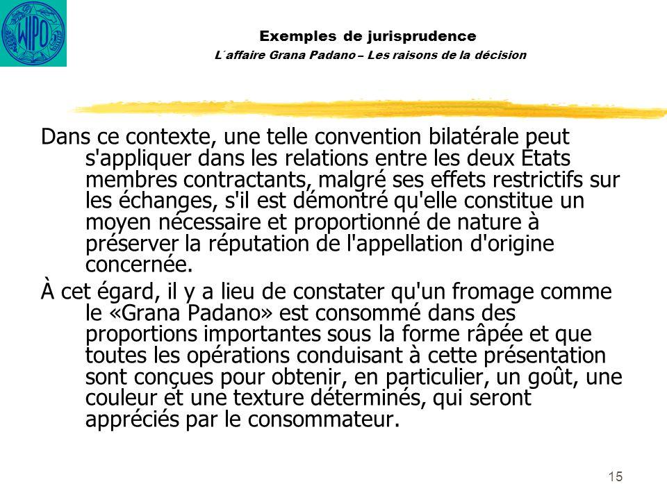 15 Exemples de jurisprudence L´affaire Grana Padano – Les raisons de la décision Dans ce contexte, une telle convention bilatérale peut s'appliquer da