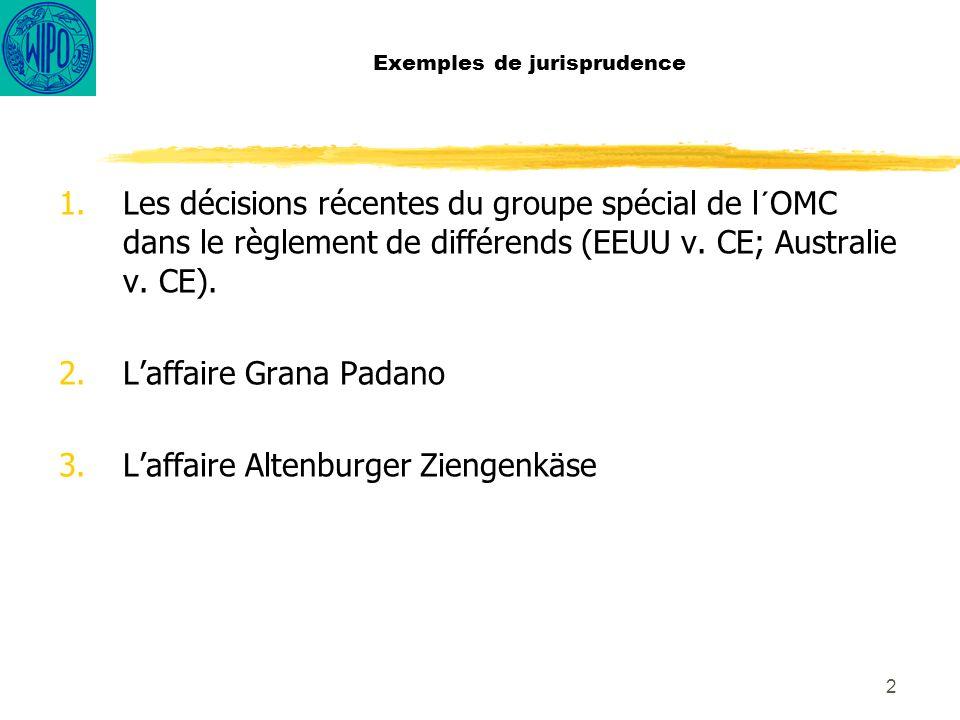13 Exemples de jurisprudence L´affaire Grana Padano La décision: 1.La Cour a conclu que lobligation de râper le produit dans sa zone dorigine nétait pas contraire à lArticle 29 CE (interdiction aux restrictions quantitatives à l exportation).