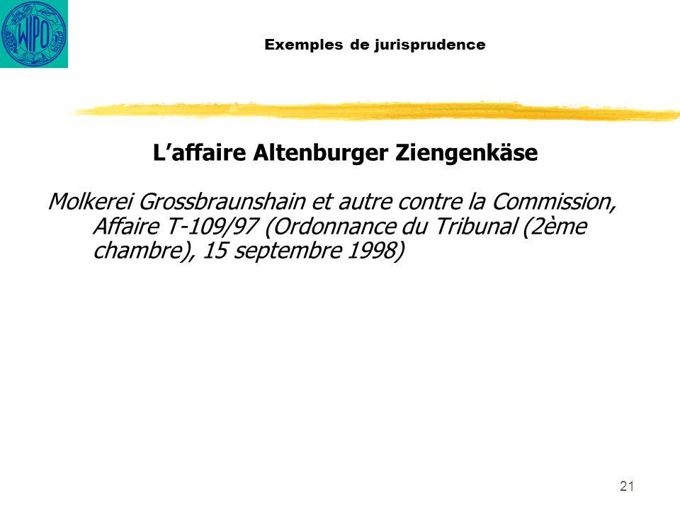 21 Exemples de jurisprudence Laffaire Altenburger Ziengenkäse Molkerei Grossbraunshain et autre contre la Commission, Affaire T-109/97 (Ordonnance du