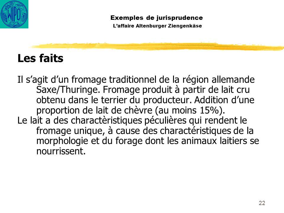 22 Exemples de jurisprudence Laffaire Altenburger Ziengenkäse Les faits Il sagit dun fromage traditionnel de la région allemande Saxe/Thuringe. Fromag