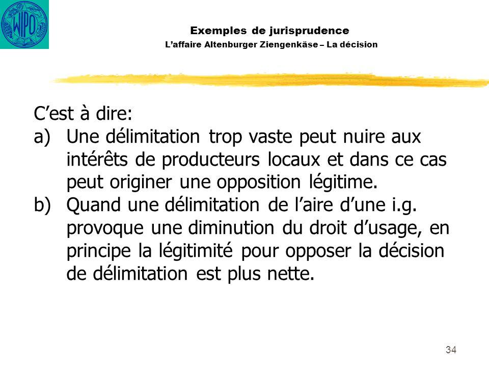 34 Exemples de jurisprudence Laffaire Altenburger Ziengenkäse – La décision Cest à dire: a)Une délimitation trop vaste peut nuire aux intérêts de prod