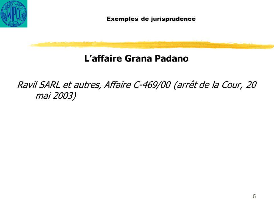 5 Exemples de jurisprudence Laffaire Grana Padano Ravil SARL et autres, Affaire C-469/00 (arrêt de la Cour, 20 mai 2003)